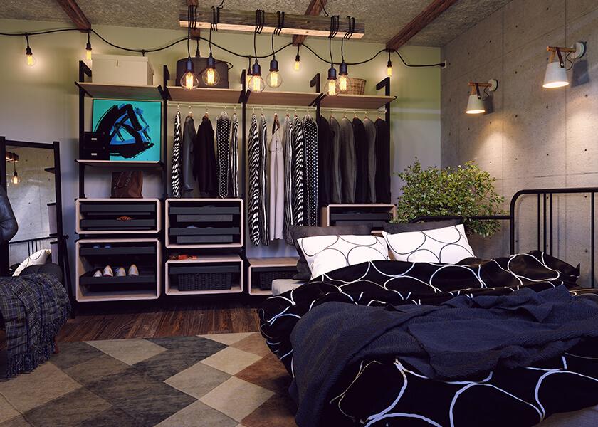 Sypialnia z loftową garderobą