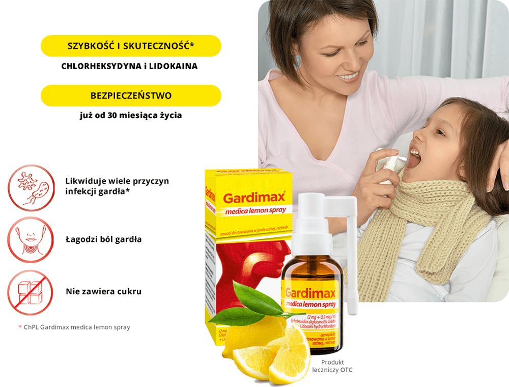 Gardimax medica lemon spray - lek na bol gardla